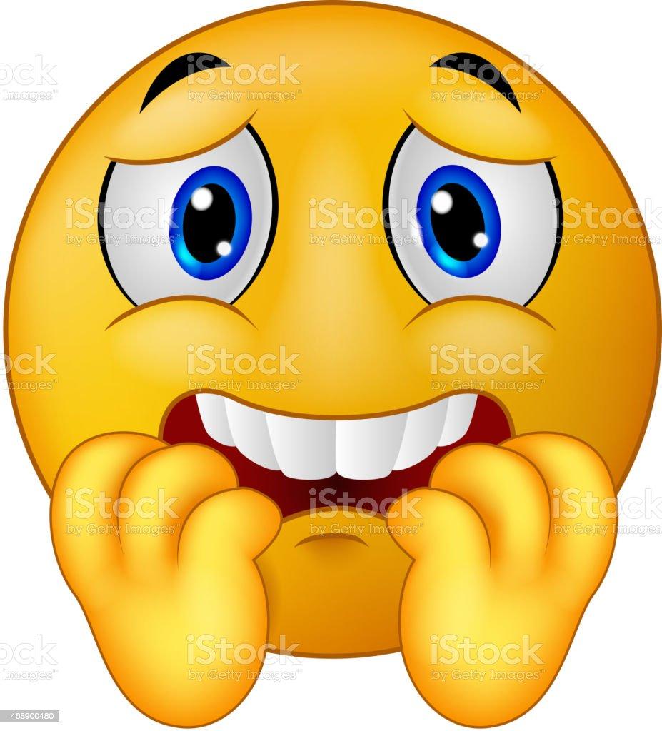 Scared emoticon smiley cartoon vector art illustration