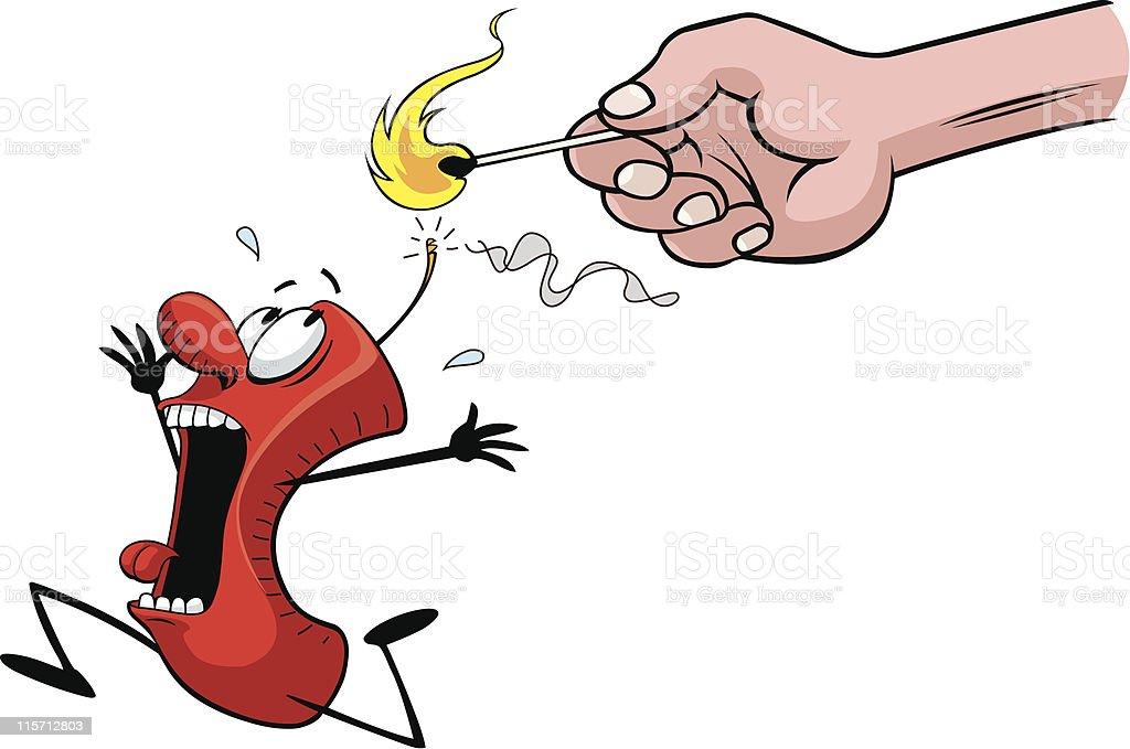 Scared Firecracker vector art illustration