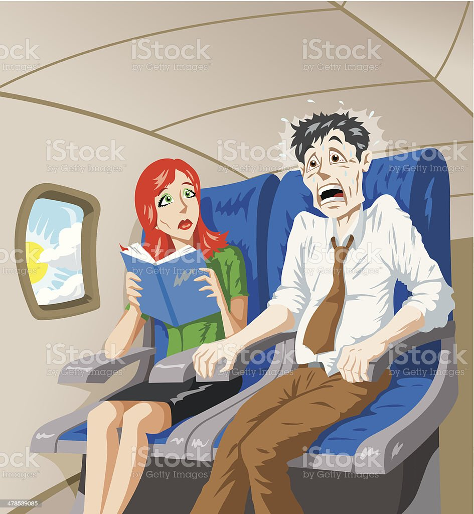 Scared of flying vector art illustration