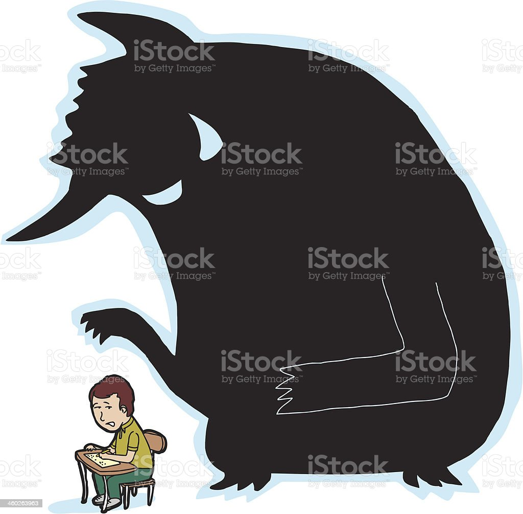Scared Student and Monster vector art illustration