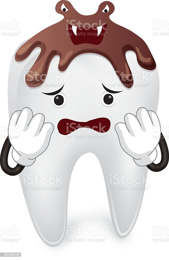 Scared tooth with chocolate vector art illustration