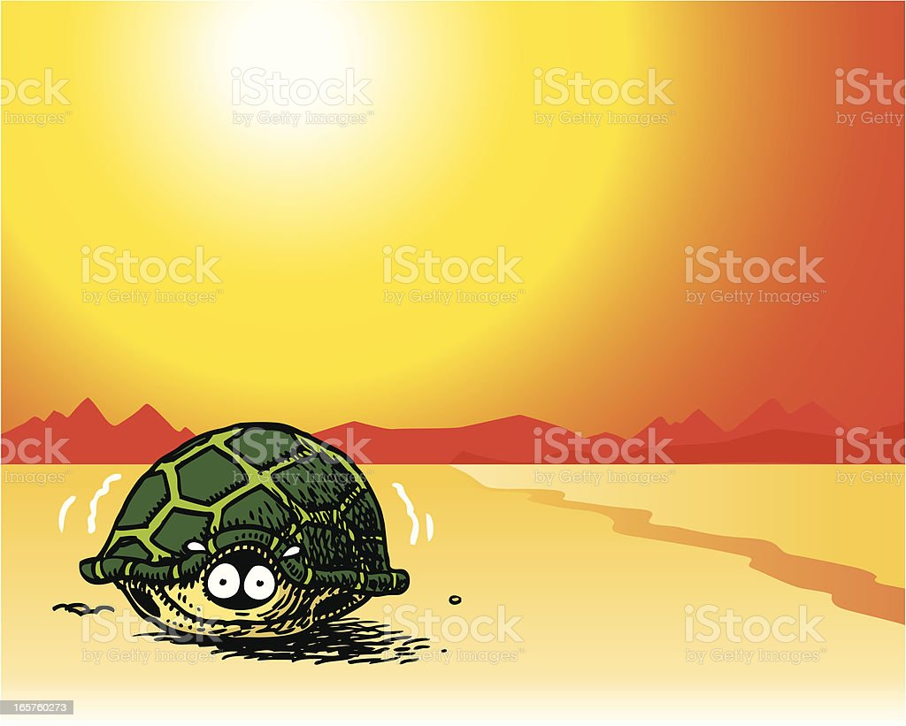 Scared Turtle vector art illustration