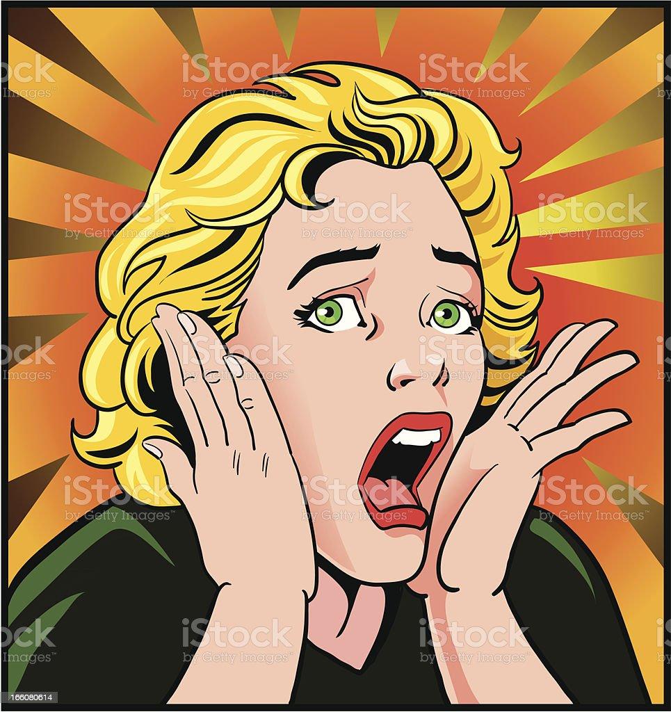 Scared Vintage Style Woman vector art illustration