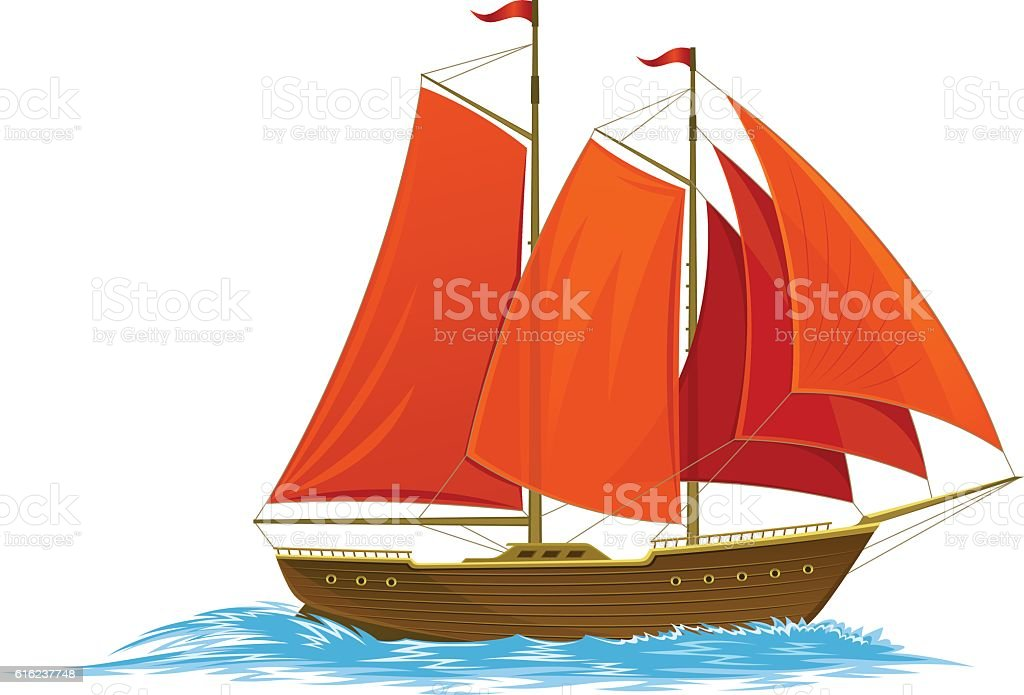 Scarlet sails vector art illustration