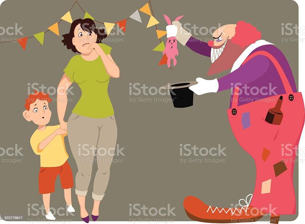 Scary clown vector art illustration