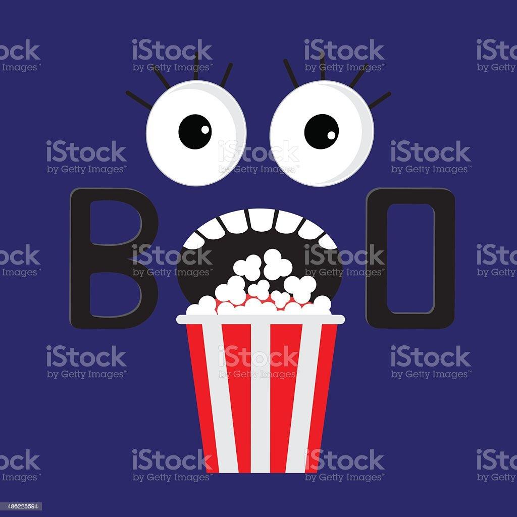Scary face boo Popcorn. Cinema icon in flat  Movie vector art illustration