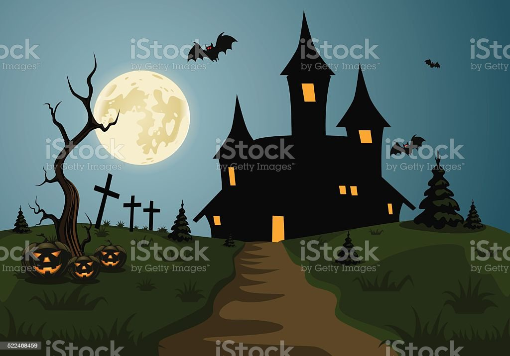 Scary Halloween background scene with castle and full moon vector art illustration