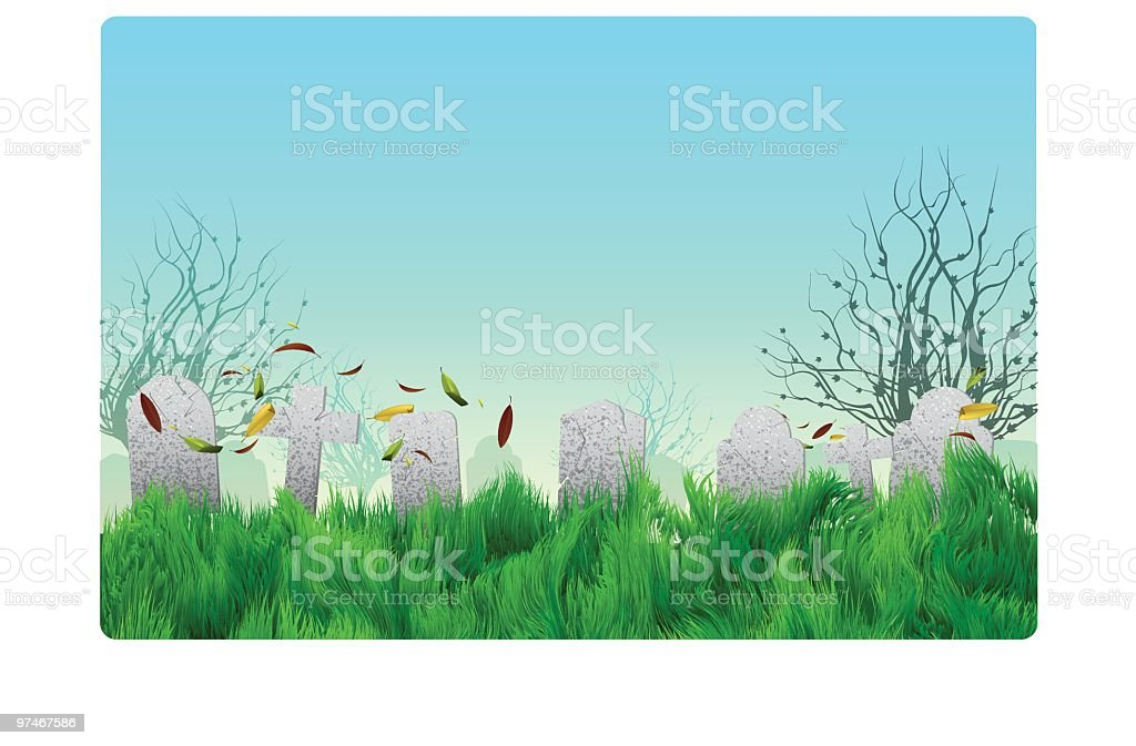 Scary Halloween Graveyard with tombstones royalty-free stock vector art