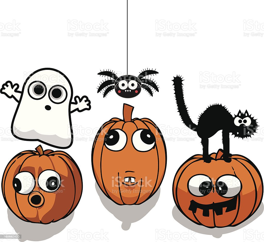 Scary Halloween Pumpkin Friends royalty-free stock vector art