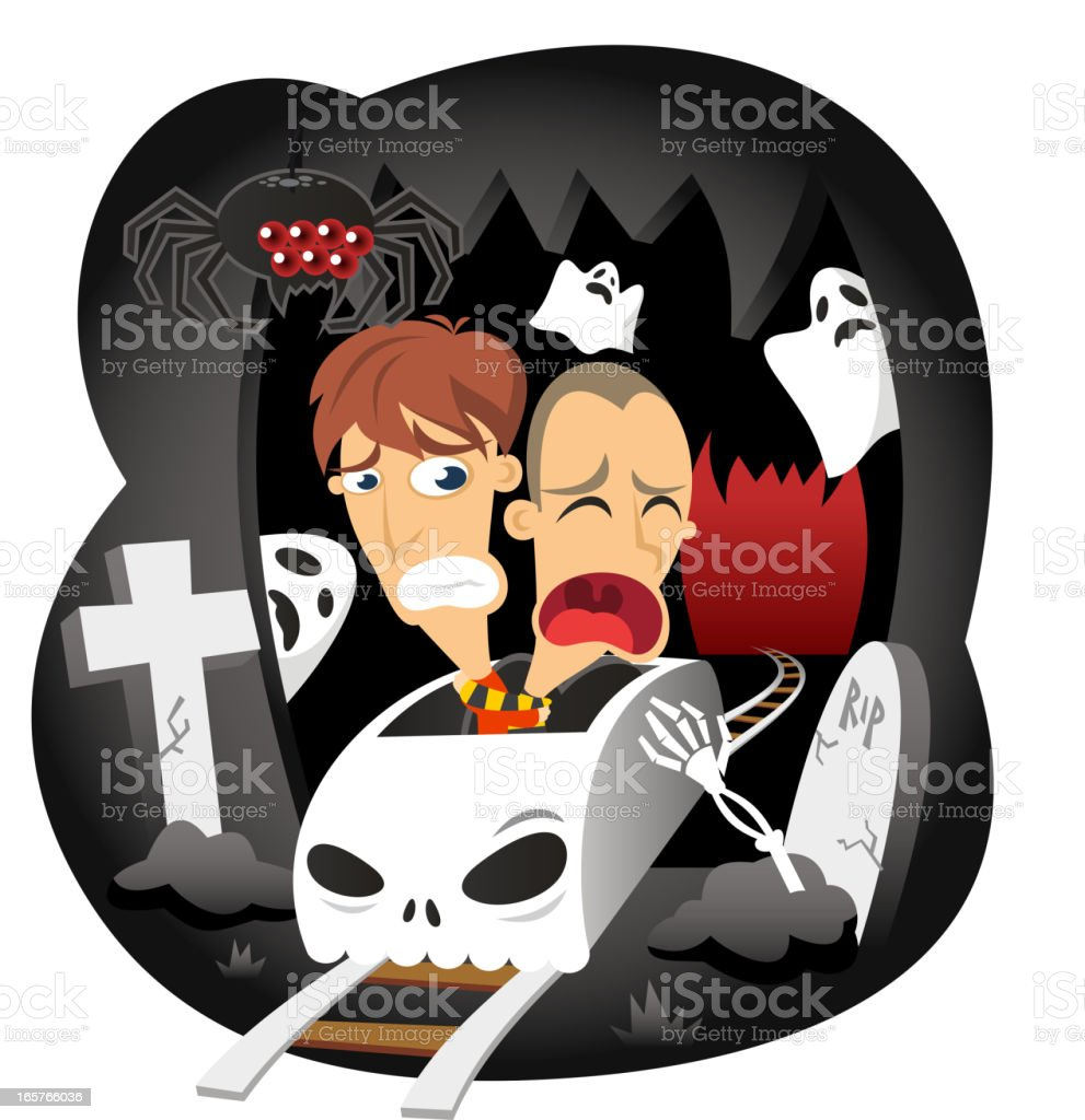 Scary Horror Ride at Amusement Park vector art illustration