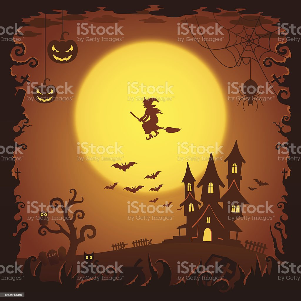 Scary house, Halloween background royalty-free stock vector art