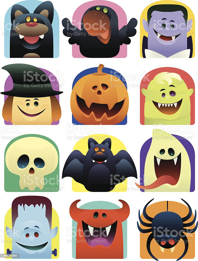 scary icons vector art illustration