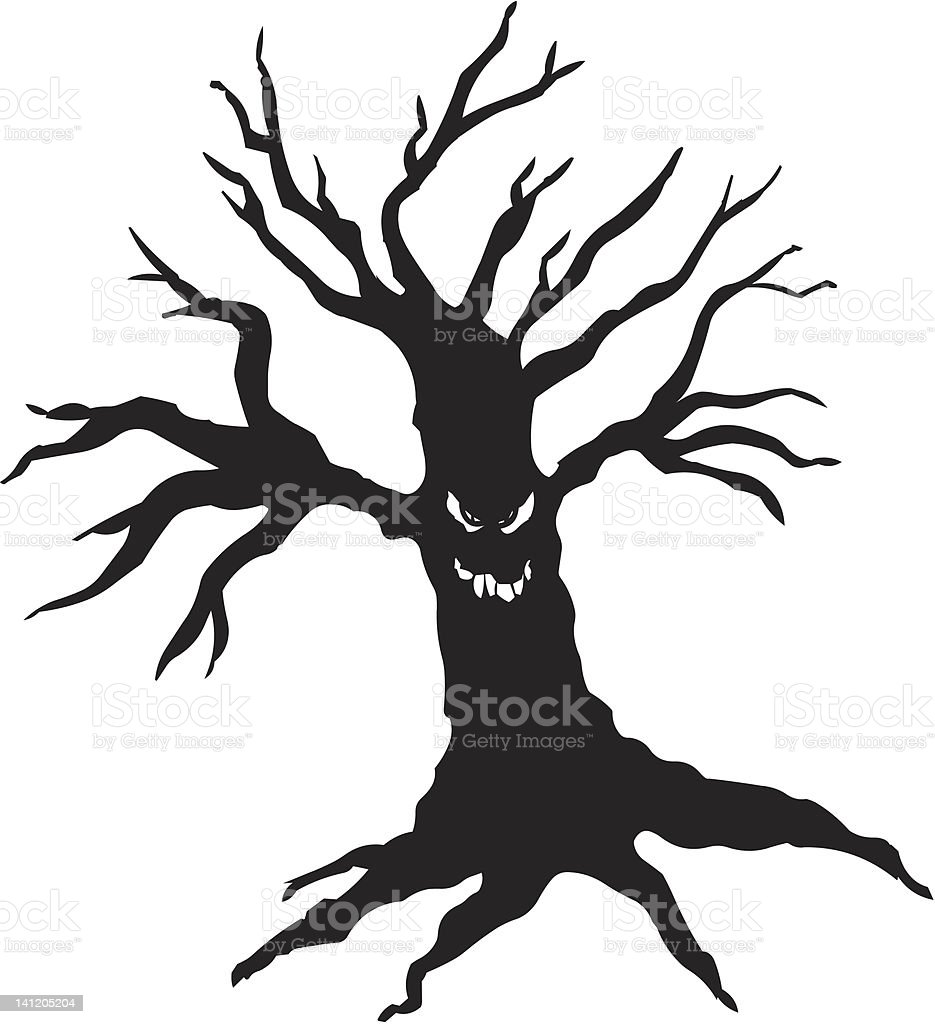 scary monster tree for halloween royalty-free stock vector art