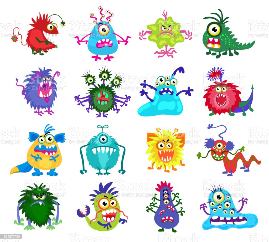 Scary monster vector set vector art illustration