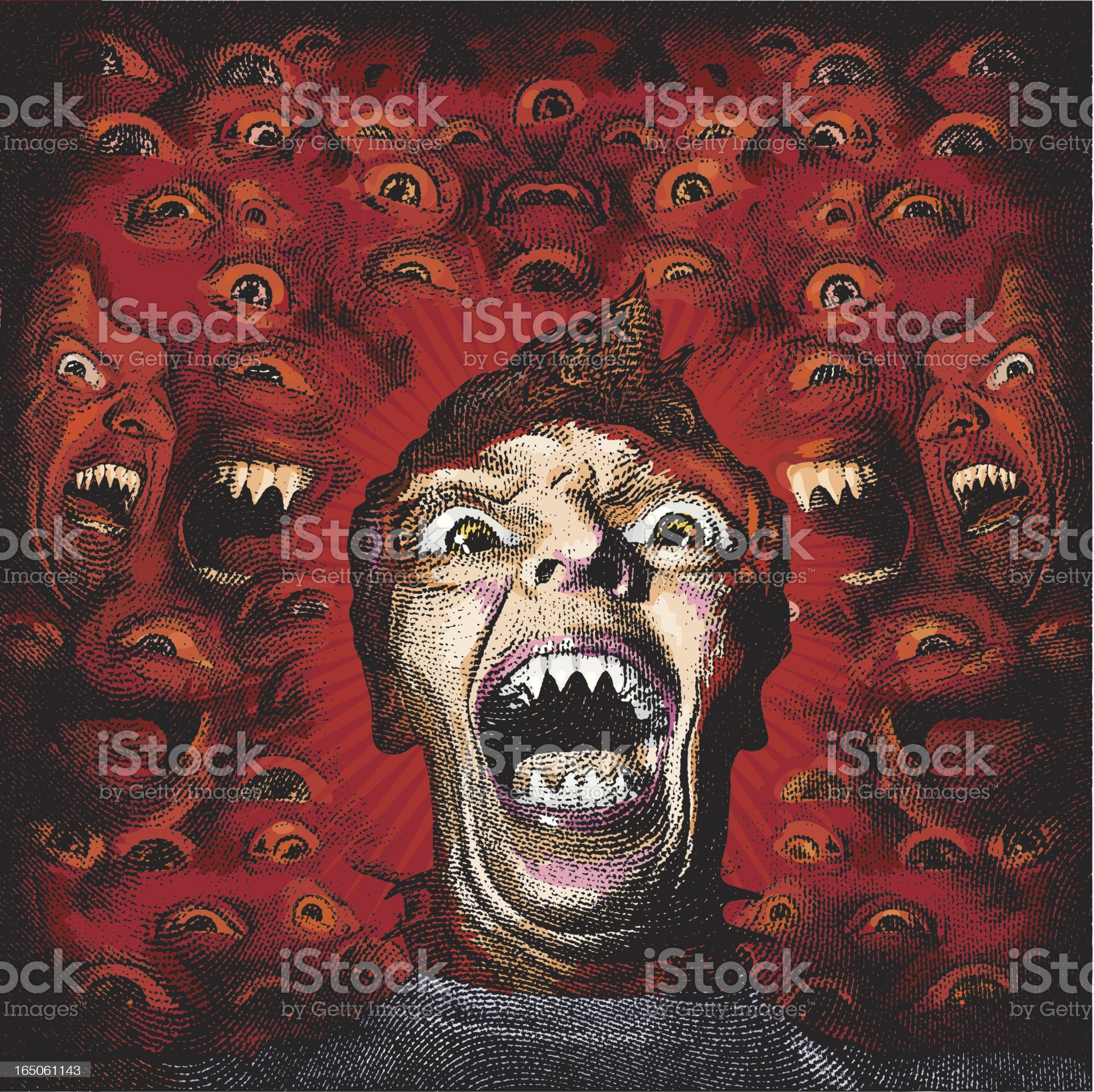 Scary Portrait of Man with Sharp Teeth royalty-free stock vector art