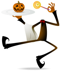 Scary Pumpkin Jack O' Lantern Chef Holding Plate and Lollipop vector art illustration