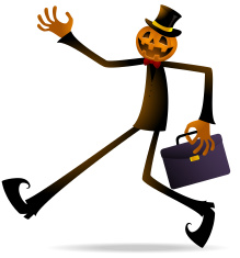 Scary Pumpkin Jack O' Lantern Holding Briefcase vector art illustration