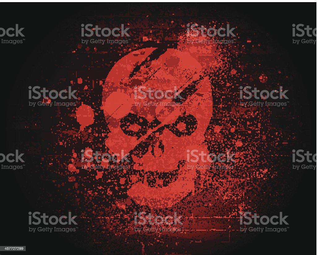 Scary Skull on Brick Wall vector art illustration