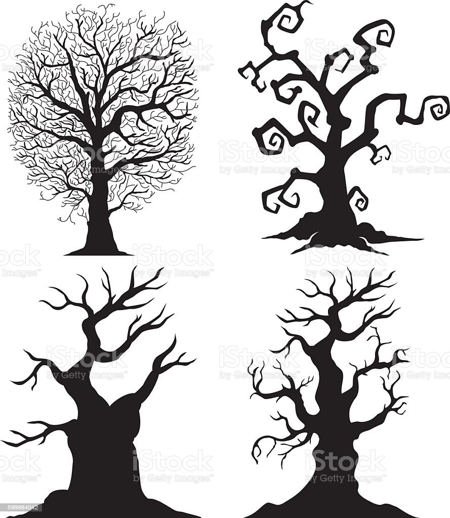 Scary tree silhouettes on the white background vector art illustration