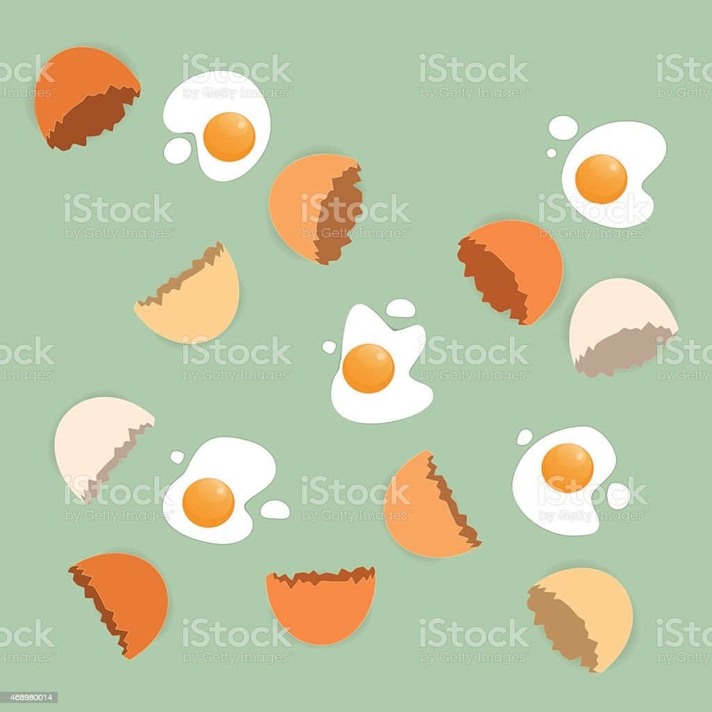 Scattered cracked eggs on the green background vector art illustration