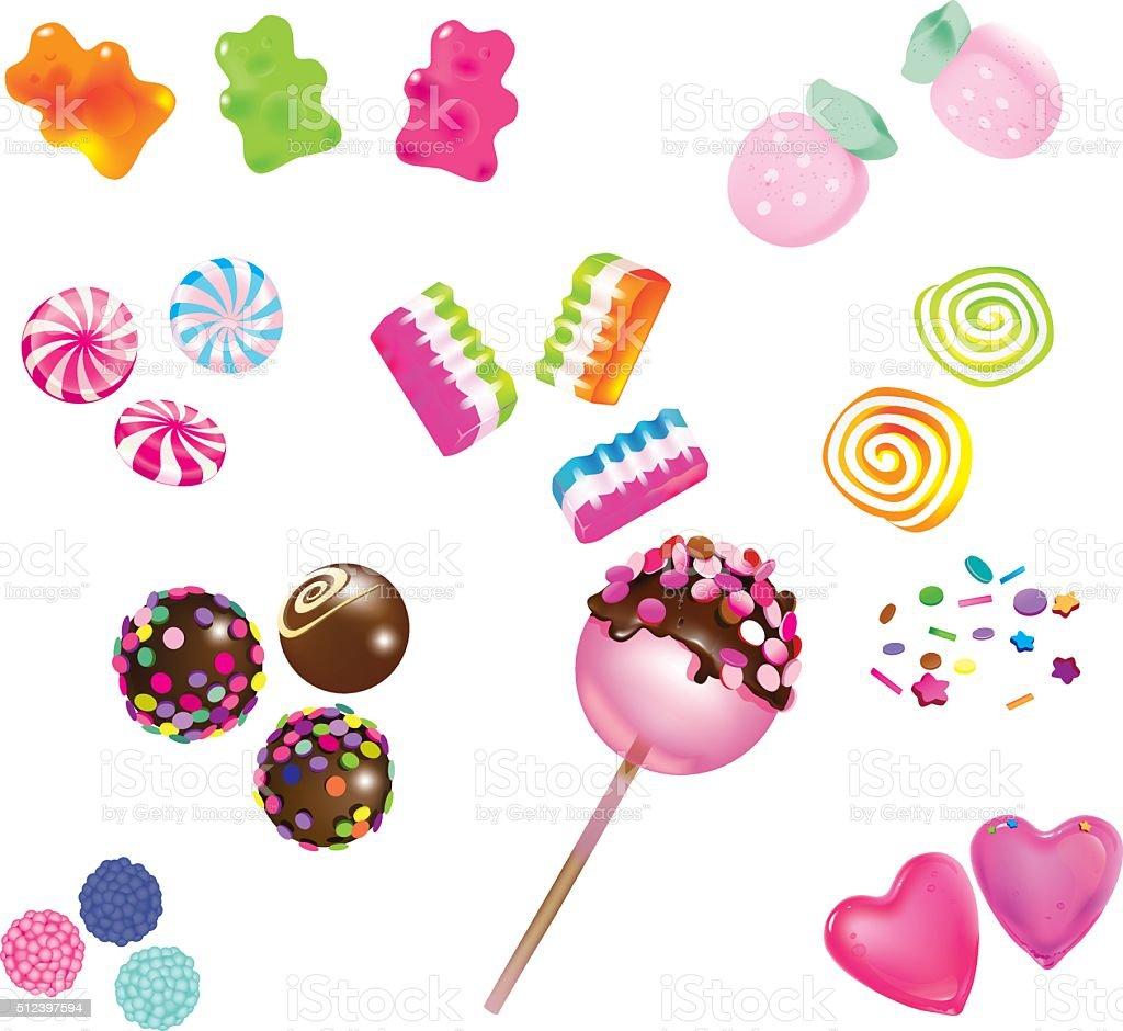 Scattered sweet candies vector art illustration