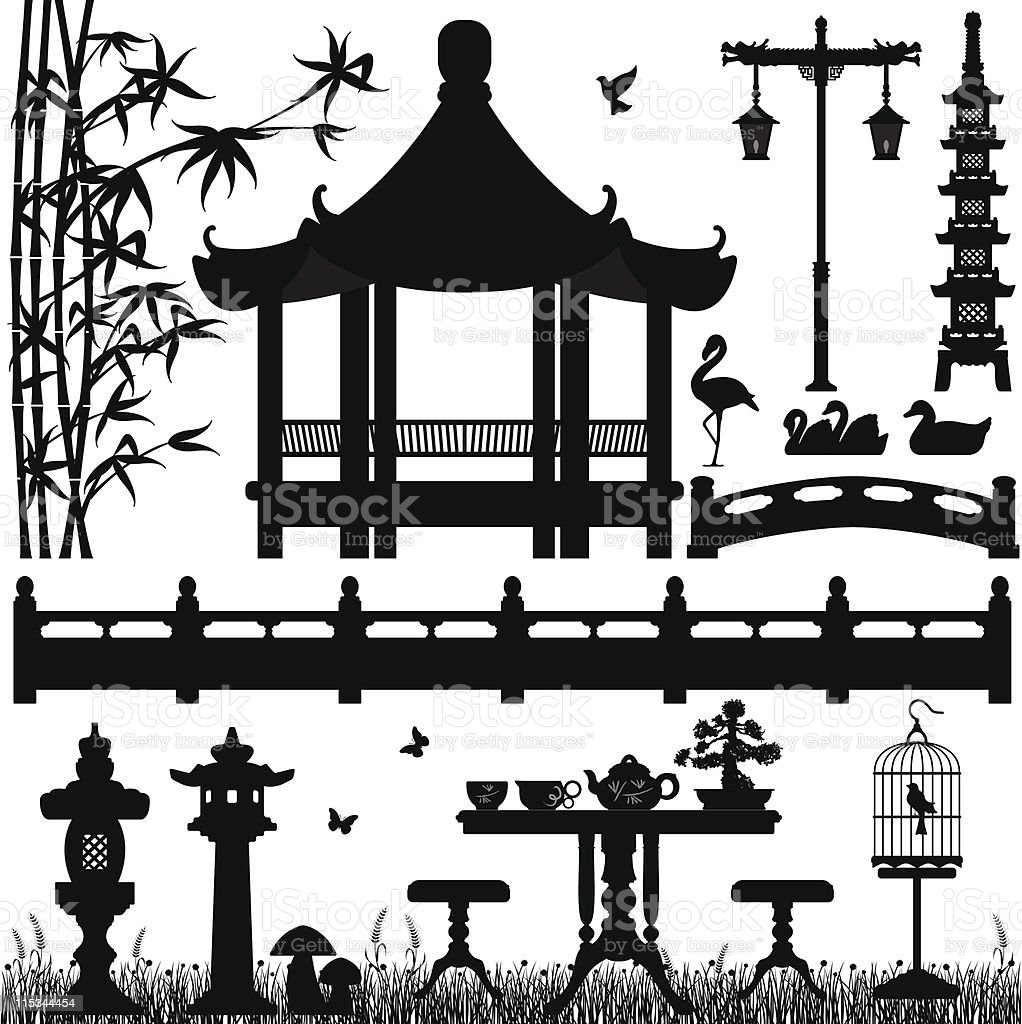 Scenario of Asian Garden vector art illustration