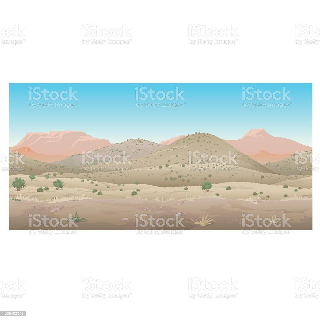Scene creative, landscape of wild West, Prairie vector art illustration