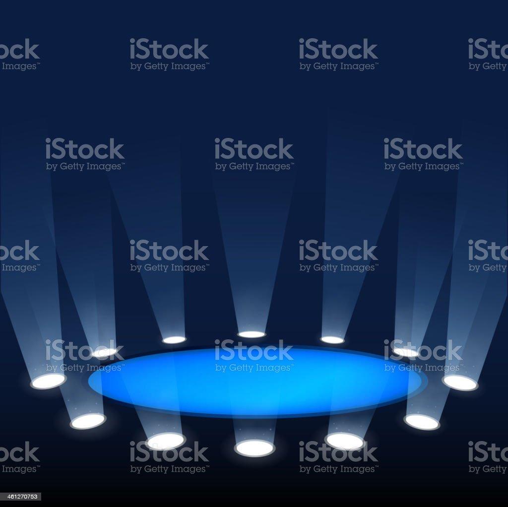Scene illuminated by spotlights. vector art illustration