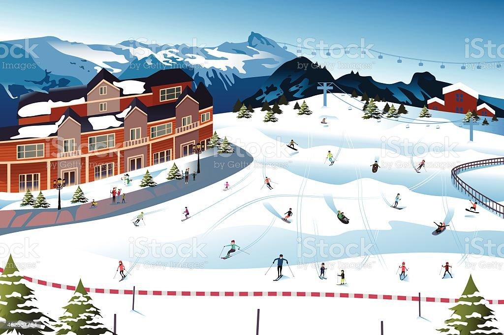 Scene in a Ski Resort vector art illustration