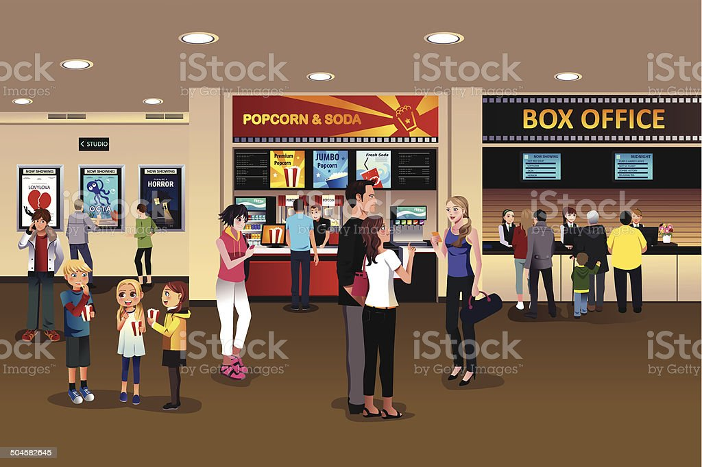 Scene in the movie theater lobby vector art illustration