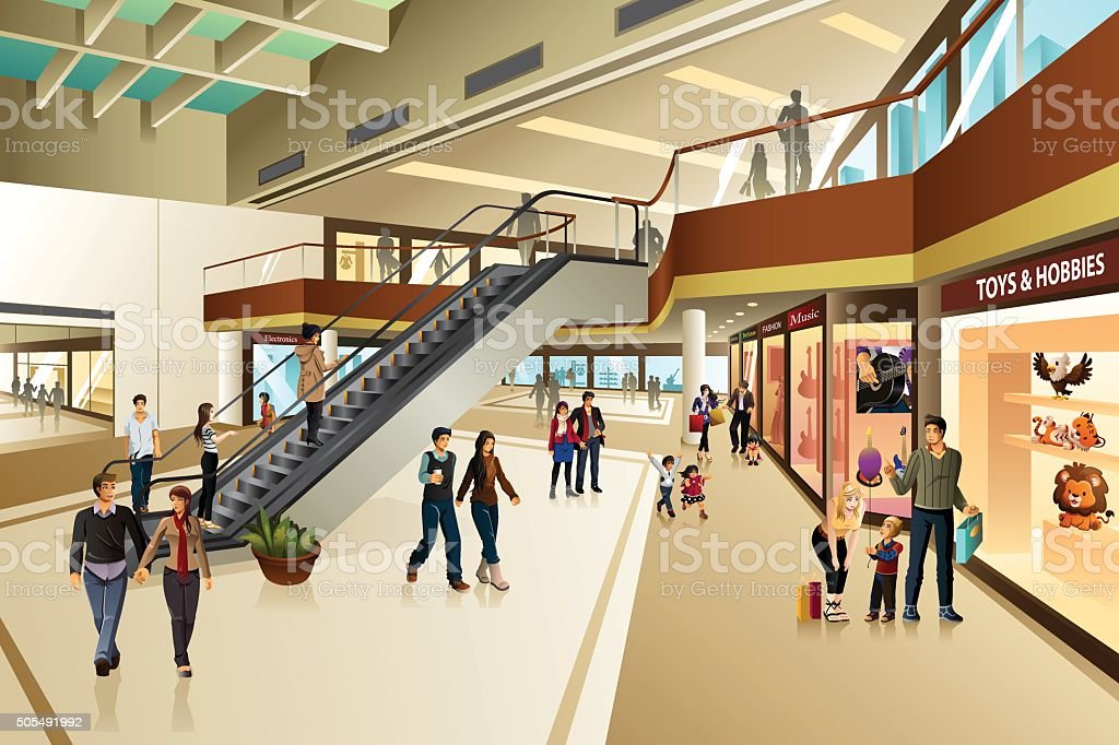 Scene Inside Shopping Mall vector art illustration