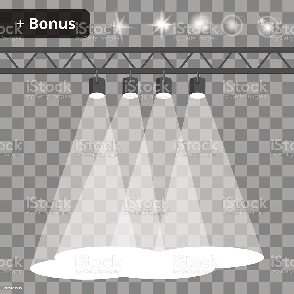 Scene with four projectors, spotlights on a transparent background. bonus vector art illustration