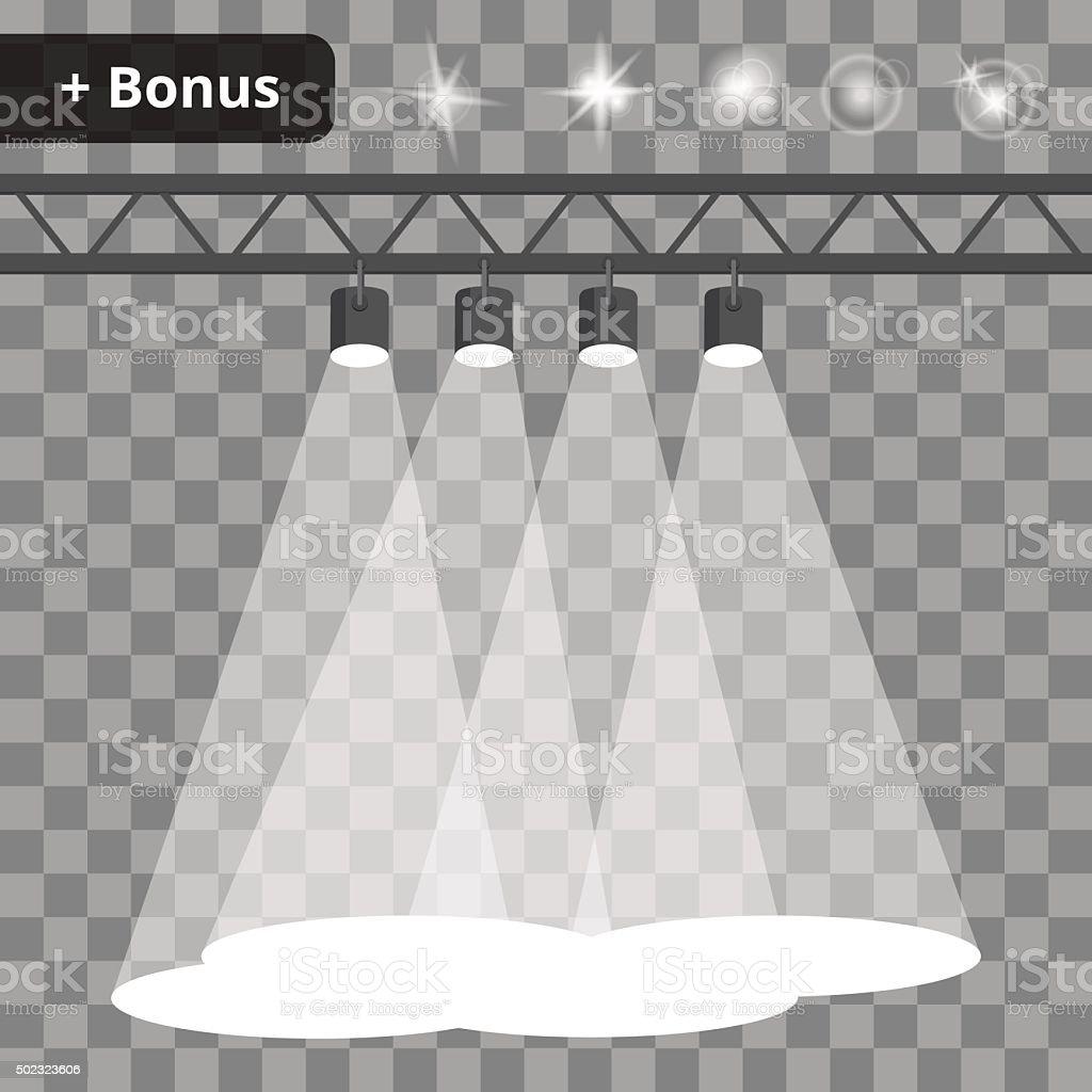 Scene with four projectors, spotlights on a transparent background. bonus vector art illustration