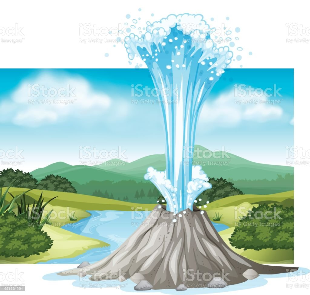 Scene with hot spring and river vector art illustration
