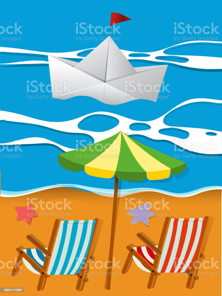 Scene with paperboat in the sea vector art illustration