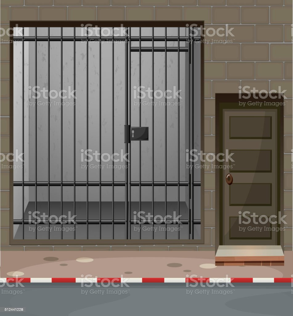 Scene with prison room at building vector art illustration