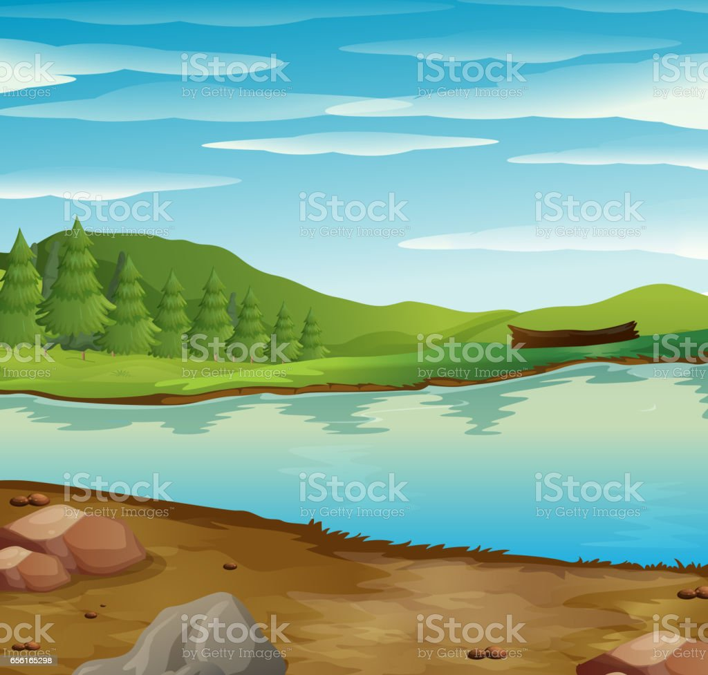 Scene with river flow through the forest vector art illustration