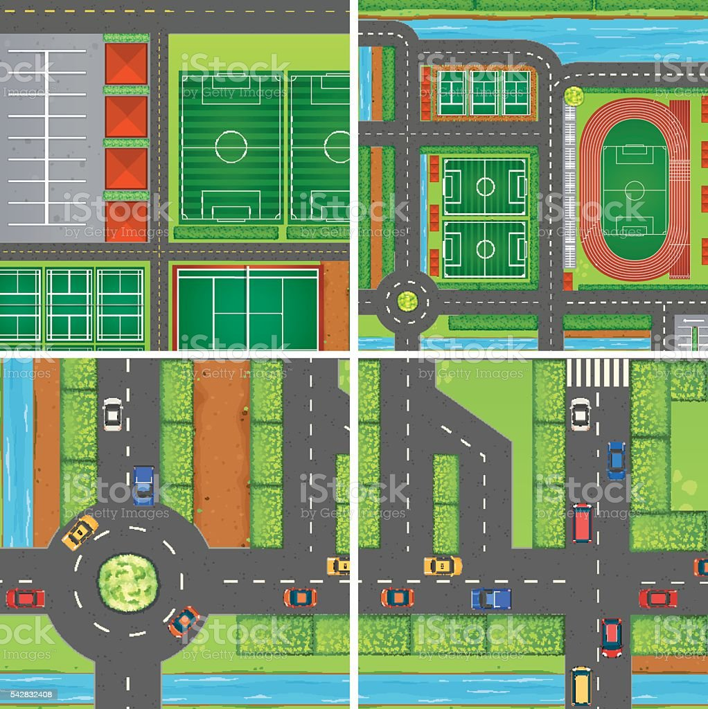 Scene with roads and sport fields vector art illustration