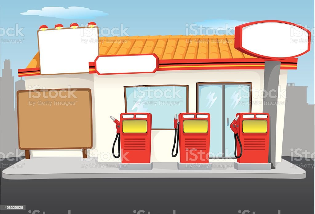 Scenery of a gas station with gas station vector art illustration