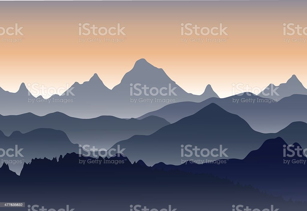 Scenery of morning at mountains vector art illustration