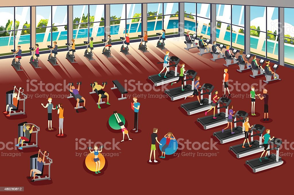 Scenes Inside a Fitness Center vector art illustration