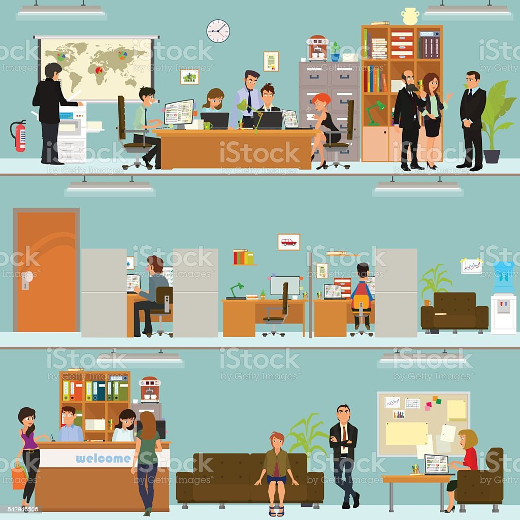 scenes of people working in the office vector art illustration