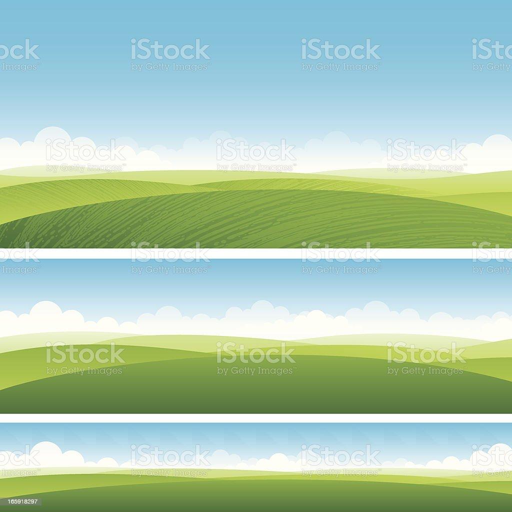 Scenic fields background vector art illustration