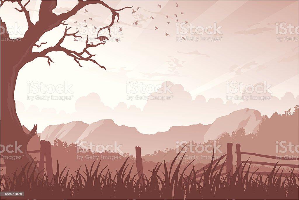 Scenic Landscape vector art illustration