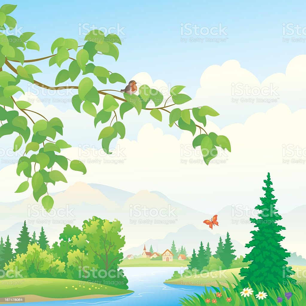 Scenic mountain illustration with water royalty-free stock vector art