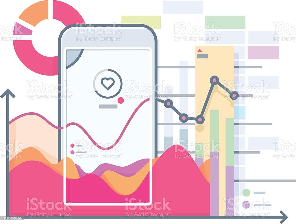 Schedule pulse on smartphone vector art illustration