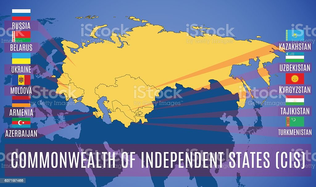 Schematic map of the Commonwealth of Independent States (CIS). vector art illustration