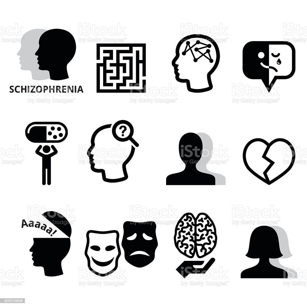 Schizophrenia, mental health, psychology vector icons set vector art illustration