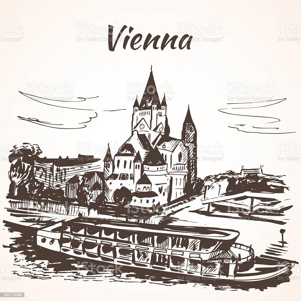 Schönbrunn Palace, Vienna vector art illustration