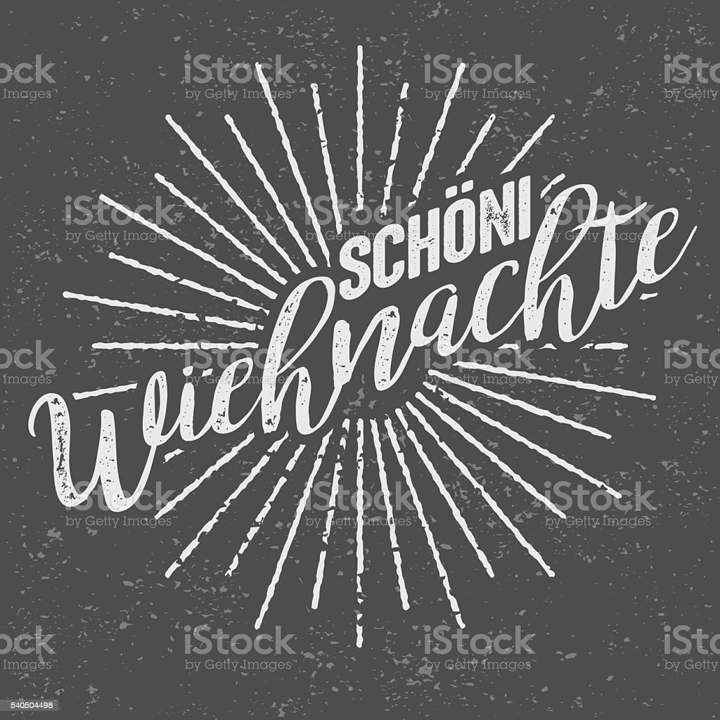Schöni Wiehnachte Swiss ('Merry Christmas') Vintage Screen Print vector art illustration